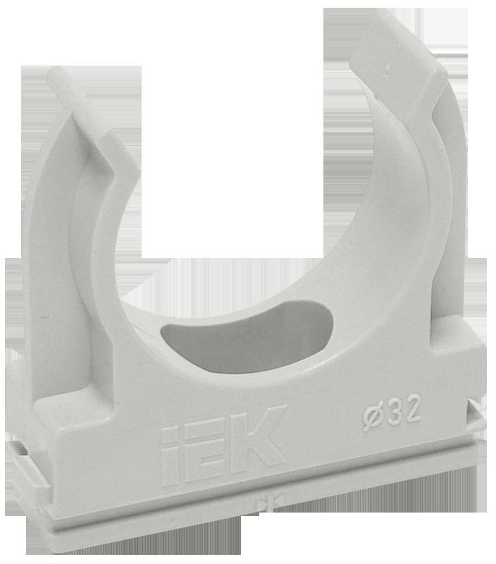 Держатель с защёлкой CF20 IEK серый, Крепления для труб