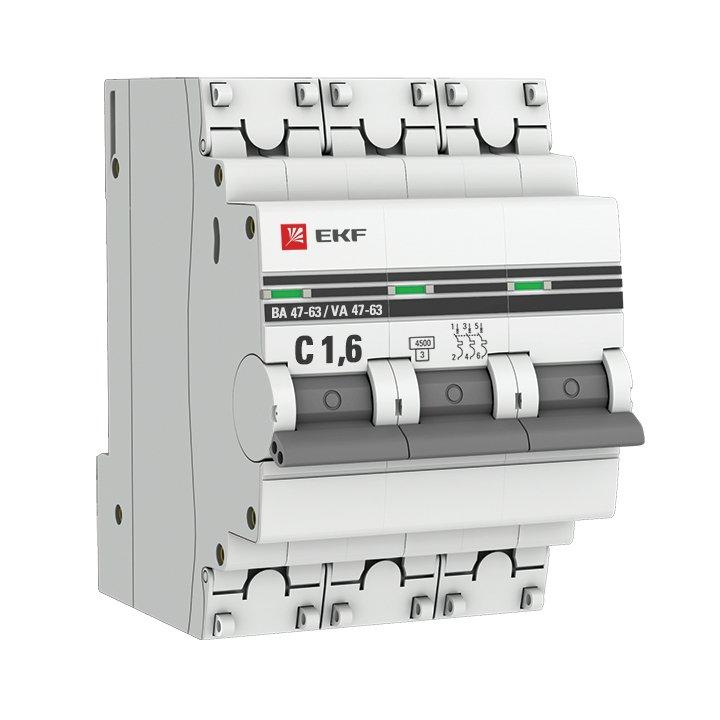 Автоматический выключатель 3P 1,6А (C) 4,5kA ВА 47-63 EKF PROxima, Автоматические выключатели