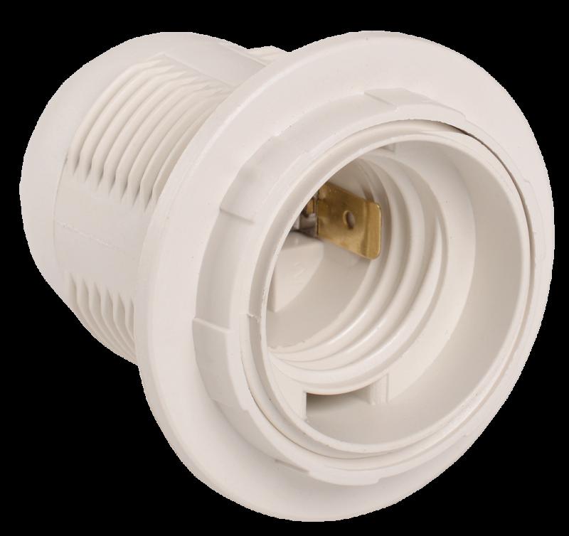 Патрон Е27 Ппл27-04-К12 пластиковый с кольцом белый IEK, Патроны