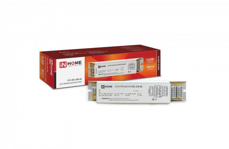 ЭПРА для люминесцентных ламп ETL-236-А2 2х36Вт Т8/G13 IN HOME, Пускорегулирующие устройства