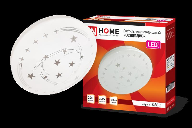 Светильник светодиодный серии DECO 24Вт 230В 6500К 1560лм 300мм СОЗВЕЗДИЕ IN HOME, Потолочные светильники