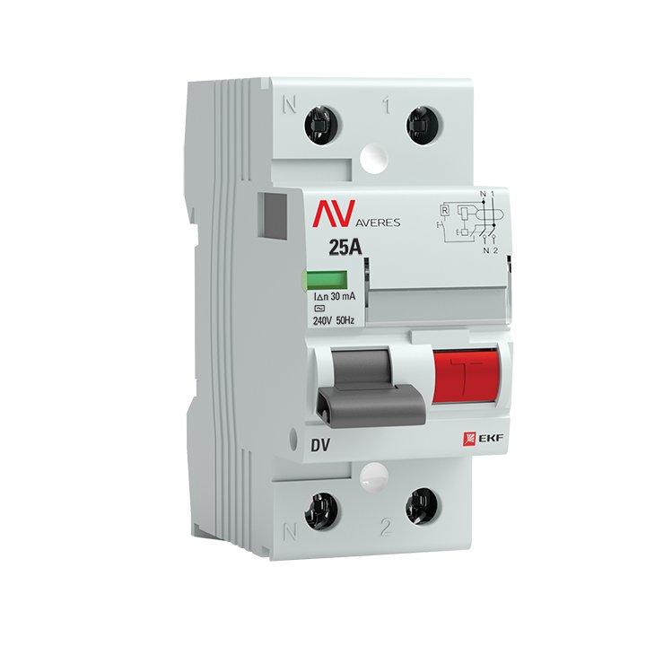 Устройство защитного отключения DV 2P 25А/ 30мА (AC) EKF AVERES, Устройства защитного отключения