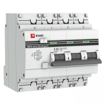 Дифференциальный автомат EKF PROxima АД-32 2Р 4Р 32А/30А 4,5кА характеристика С, Дифавтоматы АВДТ