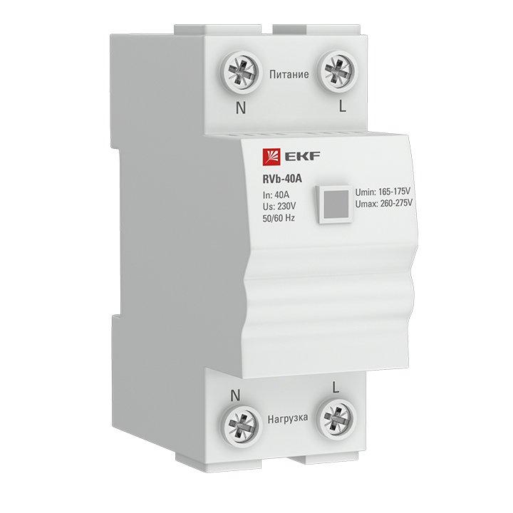 Реле напряжения (сквозное подкл.) RVb-40A EKF Basic, Реле напряжения и тока