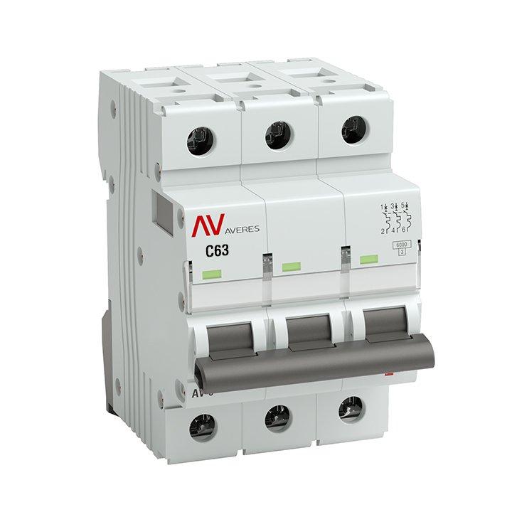 Выключатель автоматический AV-6 3P 63A (C) 6kA EKF AVERES, Автоматические выключатели