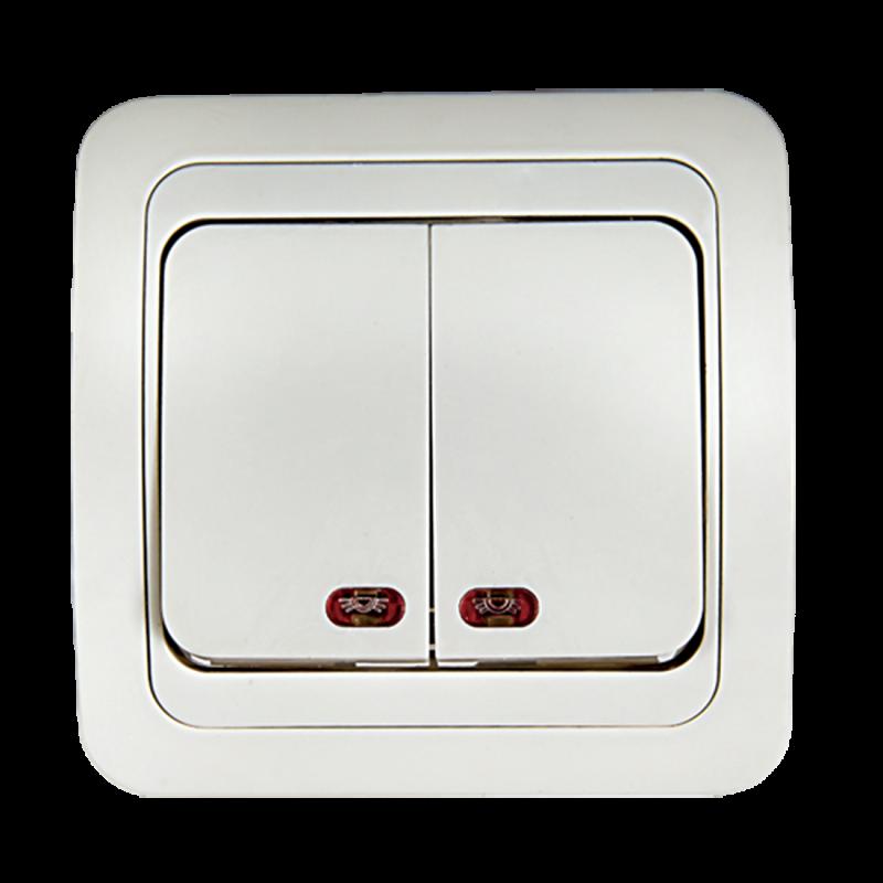 Выключатель двухклавишный с подсветкой CLASSICO белый 2123 IN HOME, Выключатели встраиваемые