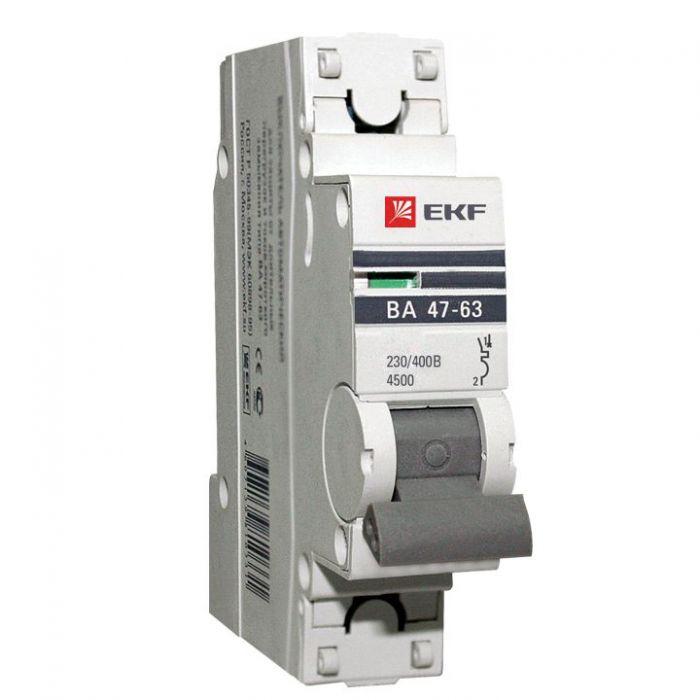 Автоматический выключатель EKF PROxima ВА47-63 1P 25А характеристика С, Автоматические выключатели