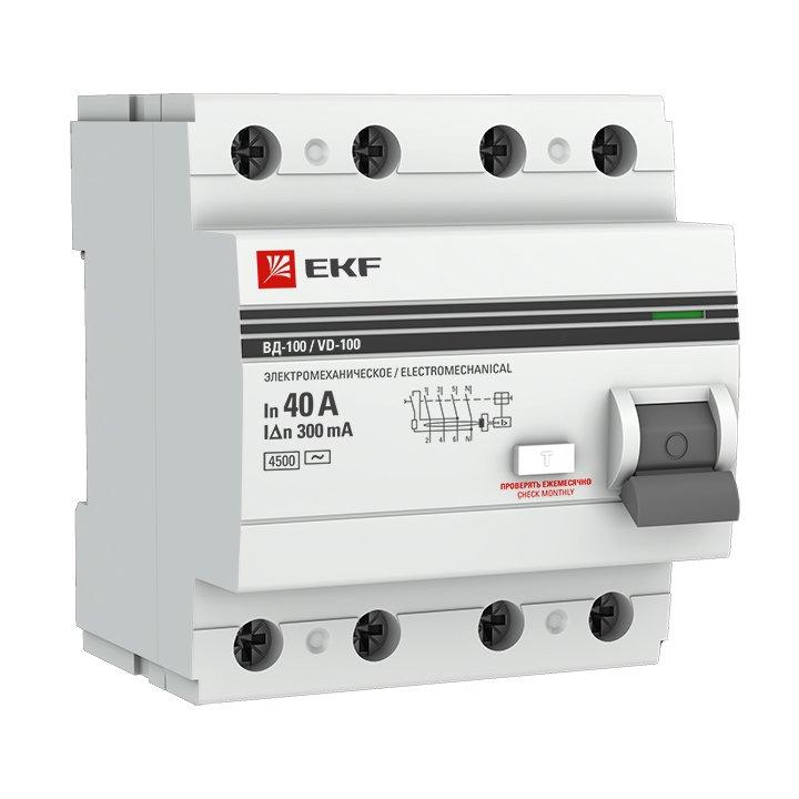 Устройство защитного отключения УЗО ВД-100 4P 40А/300мА (электромеханическое) EKF PROxima, Устройства защитного отключения