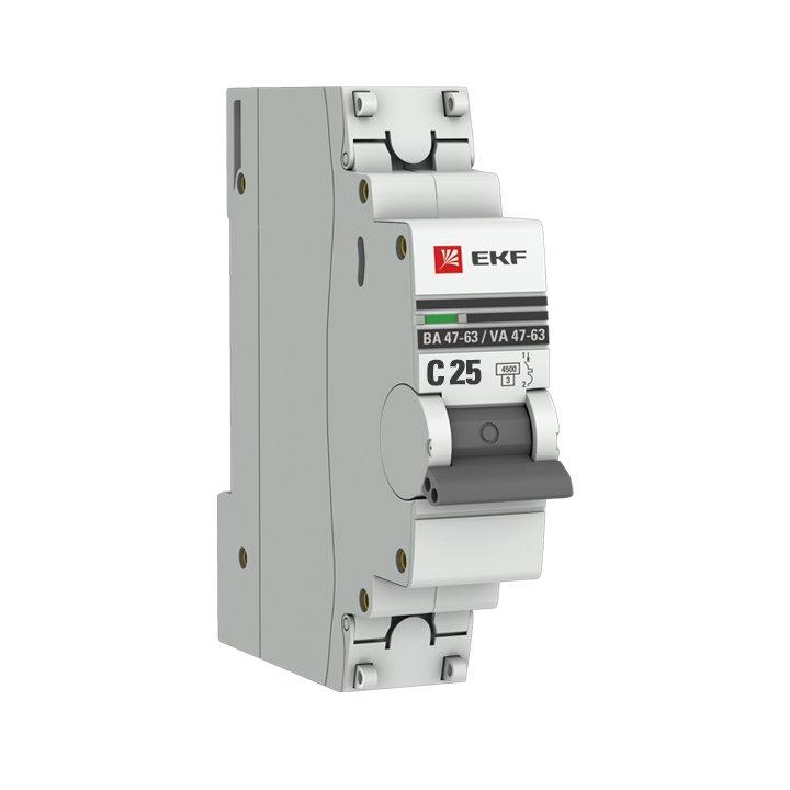 Автоматический выключатель EKF PROxima ВА47-63 1P 25А 4,5кА характеристика С, Автоматические выключатели