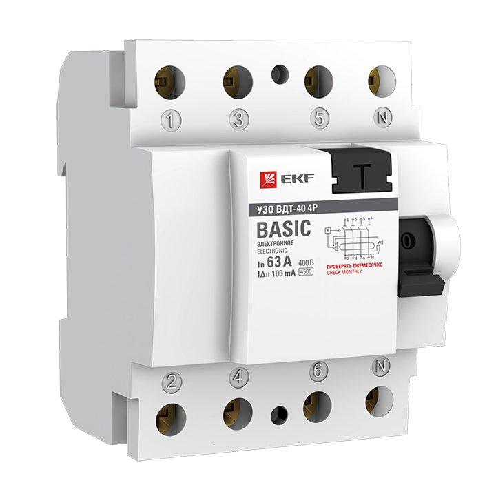 Устройство защитного отключения УЗО ВДТ-40 4P 63А/100мА (электронное) EKF Basic, Устройства защитного отключения
