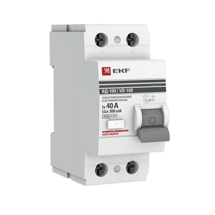 Устройство защитного отключения УЗО ВД-100 2P  40А/300мА (электромеханическое) EKF PROxima, Устройства защитного отключения