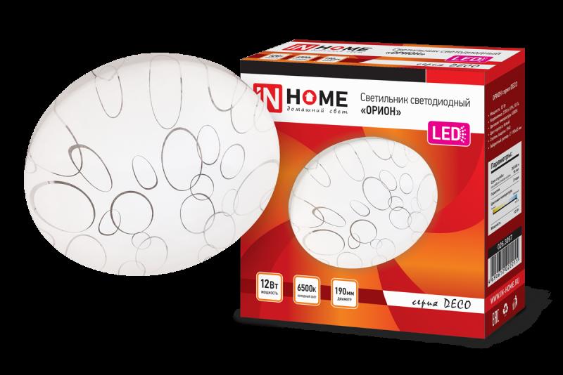 Светильник светодиодный серии DECO 12Вт 230В 6500К 780лм 190мм ОРИОН IN HOME, Потолочные светильники