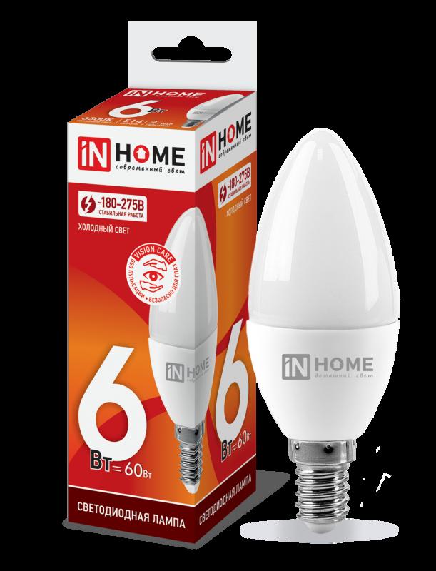 Лампа светодиодная LED-СВЕЧА-VC 6Вт 230В Е14 6500К 540Лм IN HOME, Лампа LED-СВЕЧА