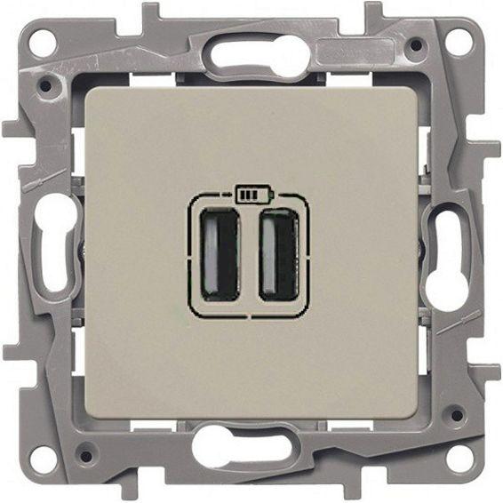 Розетка двойная USB ETIKA Legrand крем, Розетки встраиваемые