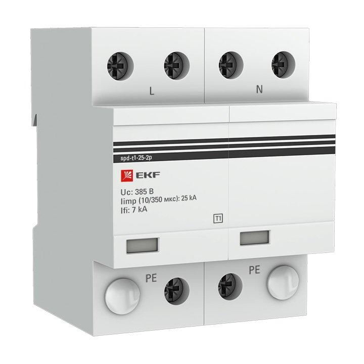 Устройство защиты от импульсных перенапряжений Тип 1 Iimp 25kA (10/350μs) 2P EKF, Дополнительные модульные устройства