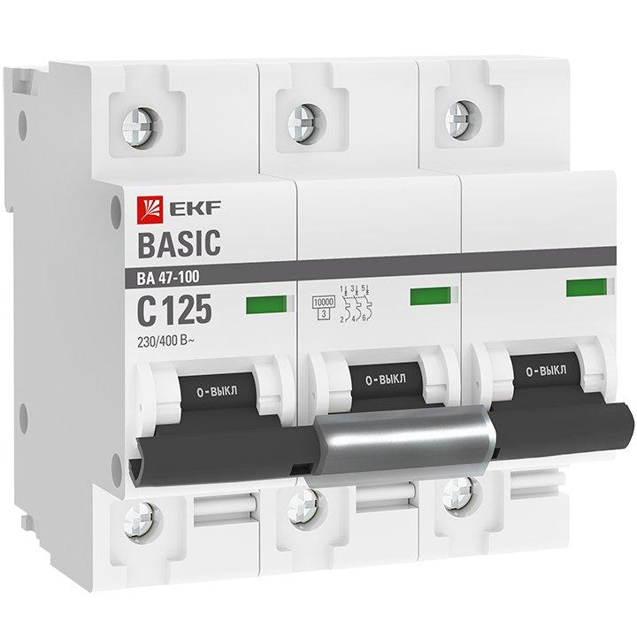 Автоматический выключатель 3P 125А (C) 10kA ВА 47-100 EKF Basic, Автоматические выключатели