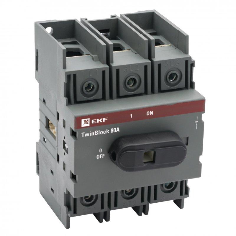 Рубильник 80A 3P c рукояткой управления для прямой установки TwinBlock EKF PROxima, Рубильники и разъединители