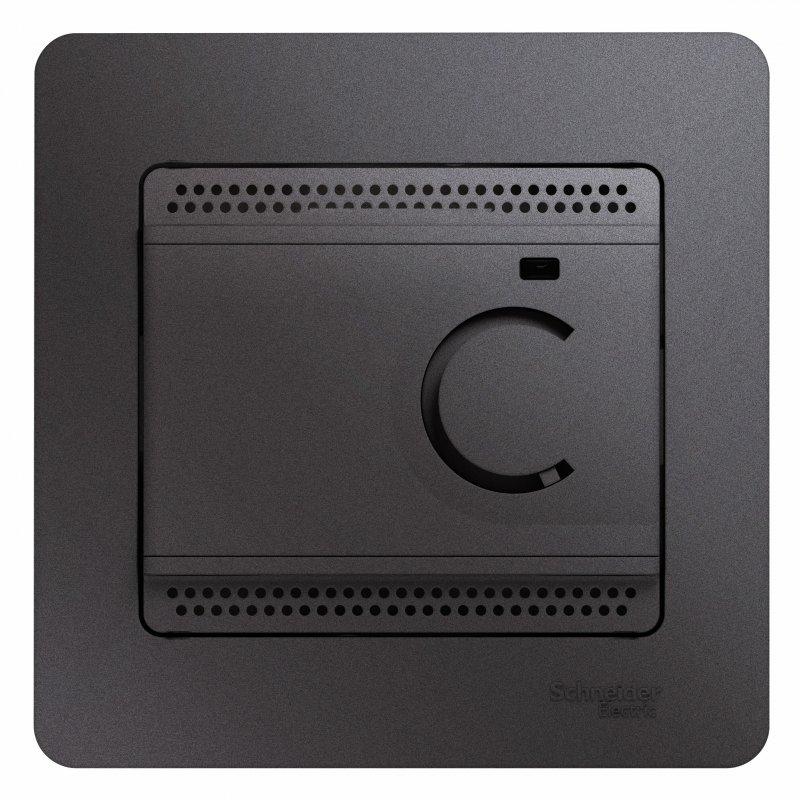 Терморегулятор электронный для теплого пола GLOSSA Schneider Electric графит, Терморегуляторы
