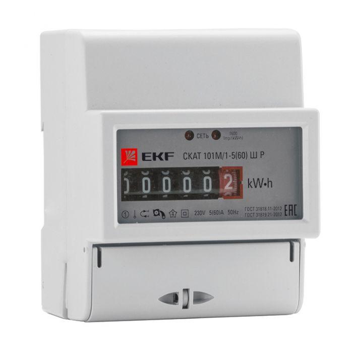 Счетчик СКАТ 101М/1 - 5(60) Ш Р однофазный однотарифный EKF PROxima, Счетчики электроэнергии однофазные