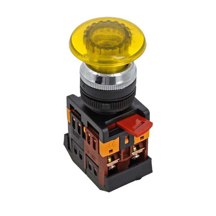 Кнопка AELA-22 желтая с подсветкой NO+NC 220В Грибок EKF PROxima, Светосигнальная арматура