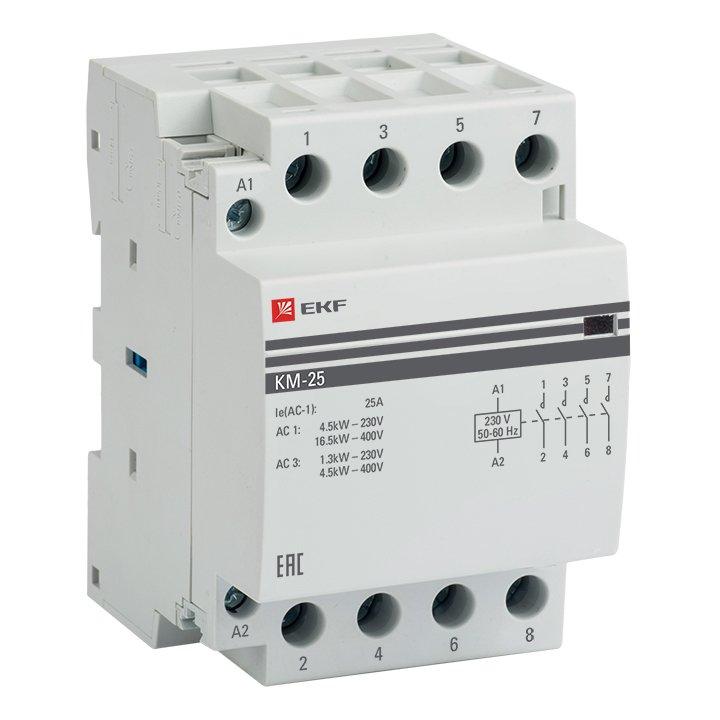 Контактор модульный КМ 25А 4NО (3 мод.) EKF PROxima, Контакторы и аксессуары