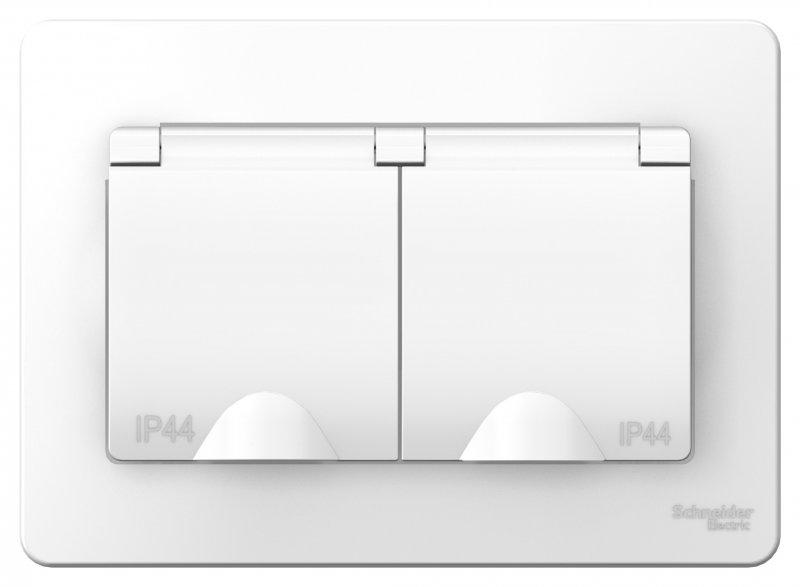 Розетка двойная BLANCA Schneider Electric с крышкой с заземлением IP44 белая, Розетки встраиваемые