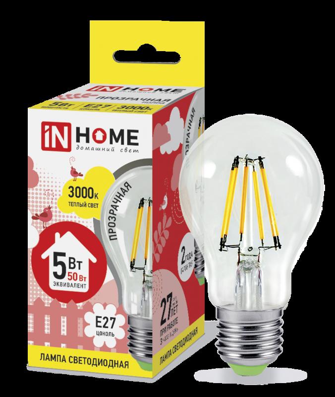 Лампа светодиодная LED-A60-deco 5Вт 230В Е27 3000К 450Лм прозрачная IN HOME, Лампа LED-A60