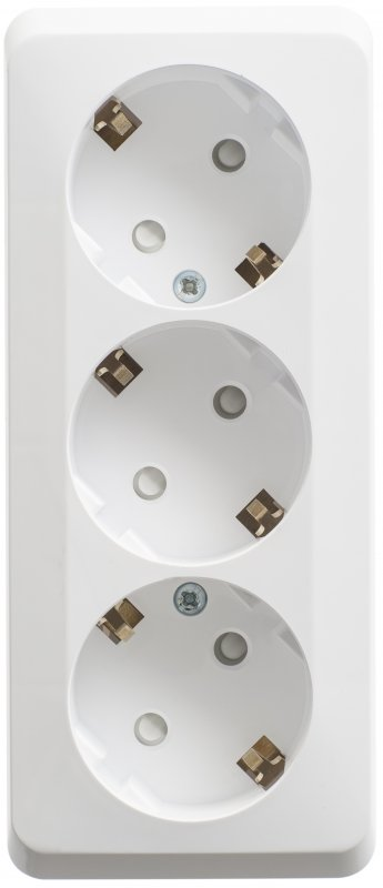 Розетка тройная ЭТЮД Schneider Electric накладная со шторками с заземлением белая, Розетки накладные