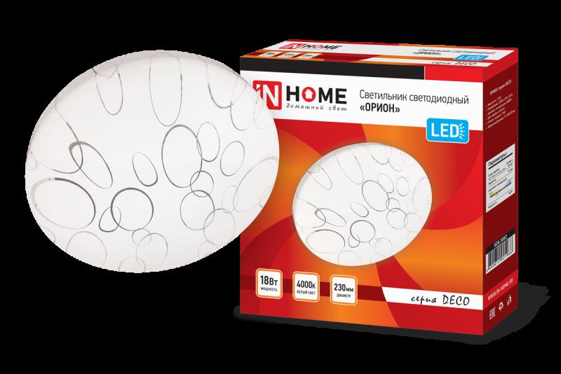 Светильник светодиодный серии DECO 18Вт 230В 4000К 1170лм 230мм ОРИОН IN HOME, Потолочные светильники