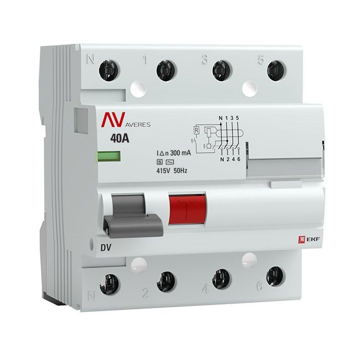 Устройство защитного отключения DV 4P 40А/300мА (S) EKF AVERES, Устройства защитного отключения