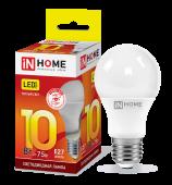 Лампа светодиодная LED-A60-VC 10Вт 230В Е27 3000К 900Лм IN HOME, Лампы LED-A