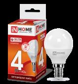Лампа светодиодная LED-ШАР-VC 4Вт 230В Е14 6500К 360Лм IN HOME, Лампы LED-ШАР