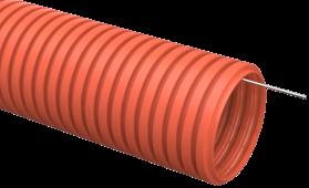Труба IEK гофрированная ПНД 40 с зондом оранжевая, Труба гофрированная ПНД