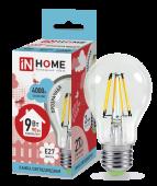 Лампа светодиодная LED-A60-deco 9Вт 230В Е27 4000К 810Лм прозрачная IN HOME, Лампы LED-A