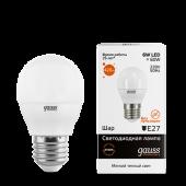 Лампа светодиодная LED-ШАР 6Вт E27 3000K 420Лм Elementary GAUSS, Лампы LED-ШАР