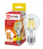 Лампа светодиодная LED-A60-deco 11Вт 230В Е27 3000К 990Лм прозрачная IN HOME, Лампы LED-A