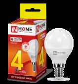 Лампа светодиодная LED-ШАР-VC 4Вт 230В Е14 3000К 360Лм IN HOME, Лампы LED-ШАР