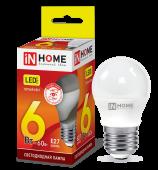 Лампа светодиодная LED-ШАР-VC 6Вт 230В Е27 3000К 540Лм IN HOME, Лампы LED-ШАР