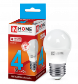 Лампа светодиодная LED-ШАР-VC 4Вт 230В Е27 4000К 360Лм IN HOME, Лампы LED-ШАР