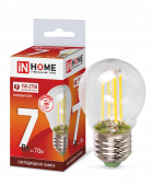 Лампа светодиодная LED-ШАР-deco 7Вт 230В Е27 6500К 630Лм прозрачная IN HOME, Лампы LED-ШАР