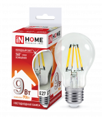 Лампа светодиодная LED-A60-deco 9Вт 230В Е27 6500К 810Лм прозрачная IN HOME, Лампы LED-A