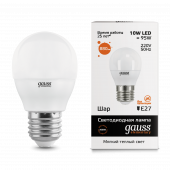 Лампа светодиодная LED-ШАР 10Вт E27 3000K 880Лм Elementary GAUSS, Лампы LED-ШАР