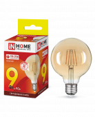 Лампа светодиодная LED-GL-95-deco gold 9Вт 230В Е27 3000К 810Лм золотистая IN HOME, Лампы LED-GL-deco