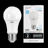 Лампа светодиодная LED-A60 12Вт E27 6500K 1170Лм Elementary GAUSS, Лампы LED-A