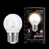 Лампа светодиодная LED-ШАР 6.5Вт E27 3000K 520Лм Black GAUSS, Лампы LED-ШАР