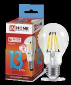 Лампа светодиодная LED-A60-deco 13Вт 230В Е27 4000К 1170Лм прозрачная IN HOME, Лампы LED-A