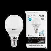 Лампа светодиодная LED-ШАР 6Вт E14 4100K 450Лм Elementary GAUSS, Лампы LED-ШАР