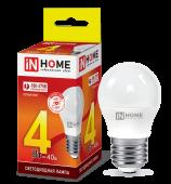Лампа светодиодная LED-ШАР-VC 4Вт 230В Е27 3000К 360Лм IN HOME, Лампы LED-ШАР