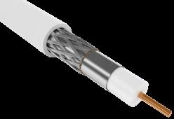Кабель коаксиальный внутренний RG-6, 750 Ом, CCS/FPE/PVC, бухта 300м, белый, GENERICA ИЭК, Телевизионный кабель