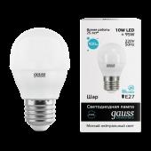 Лампа светодиодная LED-ШАР 10Вт E27 4100K 920Лм Elementary GAUSS, Лампы LED-ШАР
